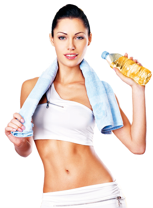 Attractive female in fitness gear with e9 energy drink