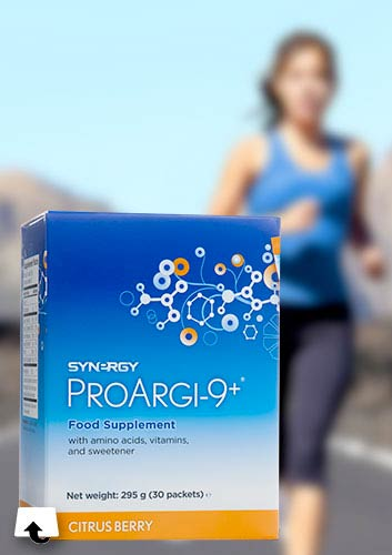 nutrition - ProArgi-9+ food supplement with a running female in the background